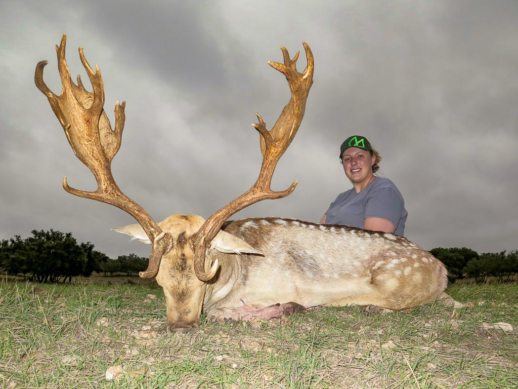 Female Hunter with spotted fallow deer