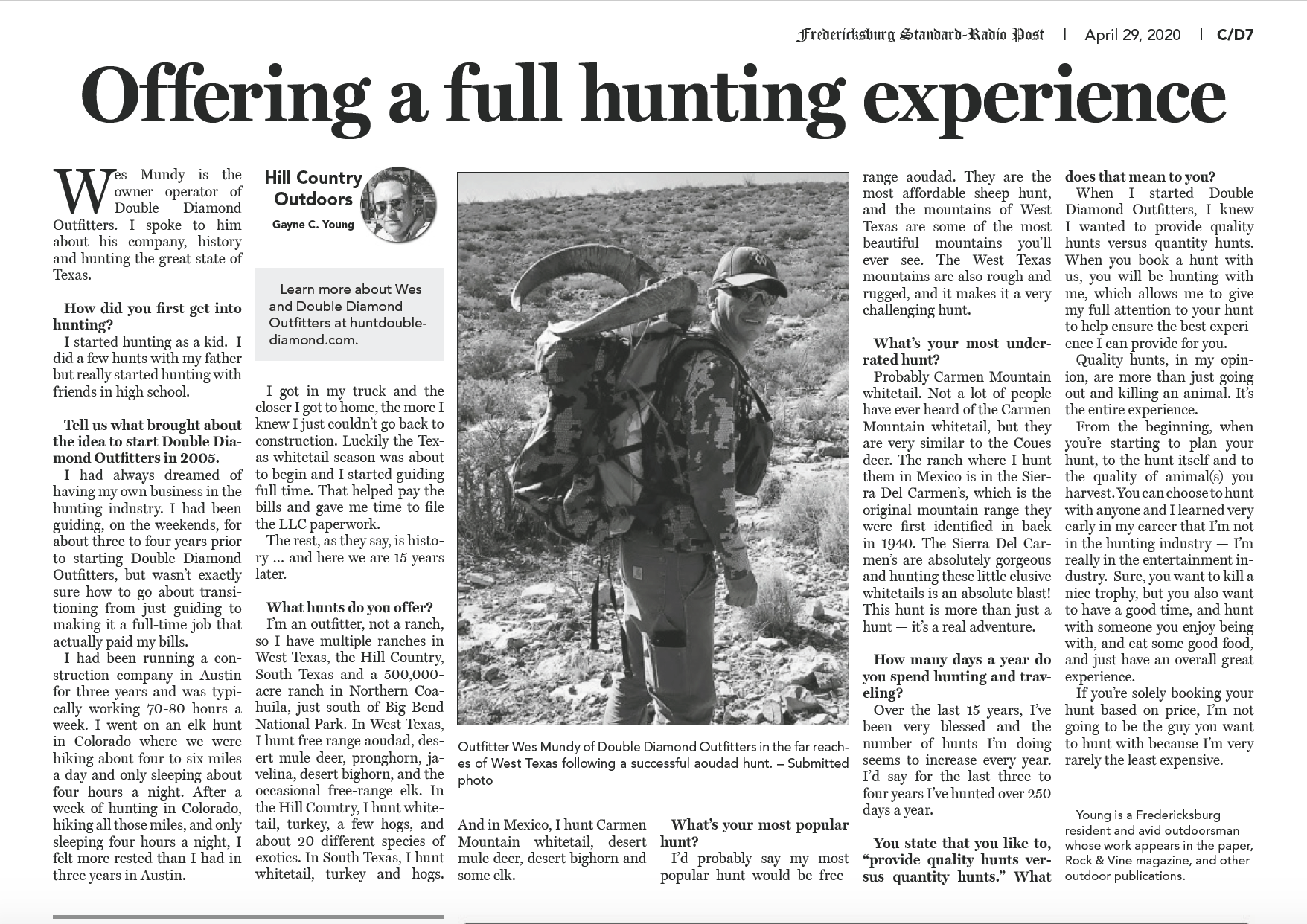 Article scan about Wes Mundy, Texas Outfitter