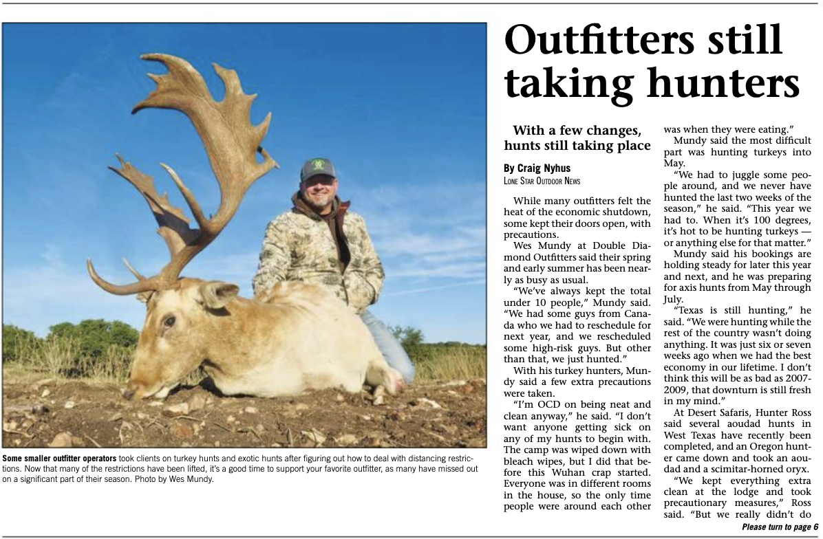 "PressClip1 - ""Texas Outfitters still taking hunters"" with picture of hunter with fallow deer"
